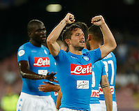 Dries Mertens  celebrates after scoring during the friendly soccer match,between SSC Napoli and Onc Nice      at  the San  Paolo   stadium in Naples  Italy , August 01, 2016<br />  during the friendly soccer match,between SSC Napoli and Onc Nice      at  the San  Paolo   stadium in Naples  Italy , August 02, 2016