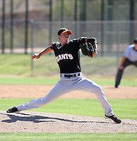 Jacob Dunnington #35 of the San Francisco Giants plays in a minor league spring training game against the Oakland Athletics at the Athletics minor league complex on March 31, 2011  in Phoenix, Arizona. .Photo by:  Bill Mitchell/Four Seam Images.