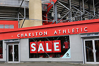 A Sale notice on the outside of the Club Shop at Charlton Athletic FC during Charlton Athletic vs Oxford United, Sky Bet EFL League 1 Football at The Valley on 3rd February 2018