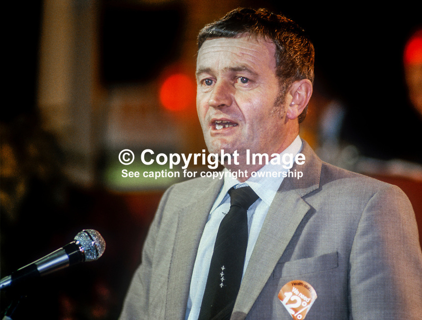 Pat Wall, Labour Party, UK, member, left-wing, Militant Tendency, prospective parliamentary candidate, PPC, Bradford North, speaking 1982 Labour Party Conference, Blackpool. 1982090151B<br />