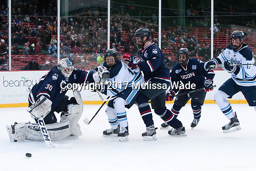 Adam Huska (UConn - 30), Mitchell Fossier (Maine - 11), David Drake (UConn - 5), Max Kalter (UConn - 18), Chase Pearson (Maine - 12) - The University of Maine Black Bears defeated the University of Connecticut Huskies 4-0 at Fenway Park on Saturday, January 14, 2017, in Boston, Massachusetts.