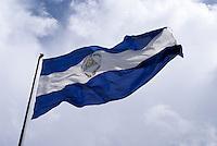 Nicaraguan flag flying in downtown Managua, Nicaragua