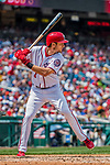 29 April 2017: Washington Nationals infielder Trea Turner at bat against the New York Mets at Nationals Park in Washington, DC. The Mets defeated the Nationals 5-3 to take the second game of their 3-game weekend series. Mandatory Credit: Ed Wolfstein Photo *** RAW (NEF) Image File Available ***