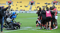 Kenya celebrate winning the Challenge trophy at the 2017 HSBC World Sevens Series Wellington, Westpac Stadium in Wellington, New Zealand on Sunday, 29 January 2017. Photo: Kerry Marshall / lintottphoto.co.nz