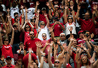 NWA Democrat-Gazette/CHARLIE KAIJO Arkansas Razorbacks fans call the hogs during the first quarter of a football game, Saturday, October 6, 2018 at Donald W. Reynolds Razorback Stadium in Fayetteville.