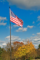 American Fly Flying from Flag Pole, Blue Cloudy Sky