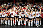 "MADISON, WI - OCTOBER 27: The Wisconsin Badgers volleyball team sings ""Varsity"" to the fans after a victory against the Penn State Nittany Lions on October 27, 2006 in Madison, Wisconsin. (Photo by David Stluka)"