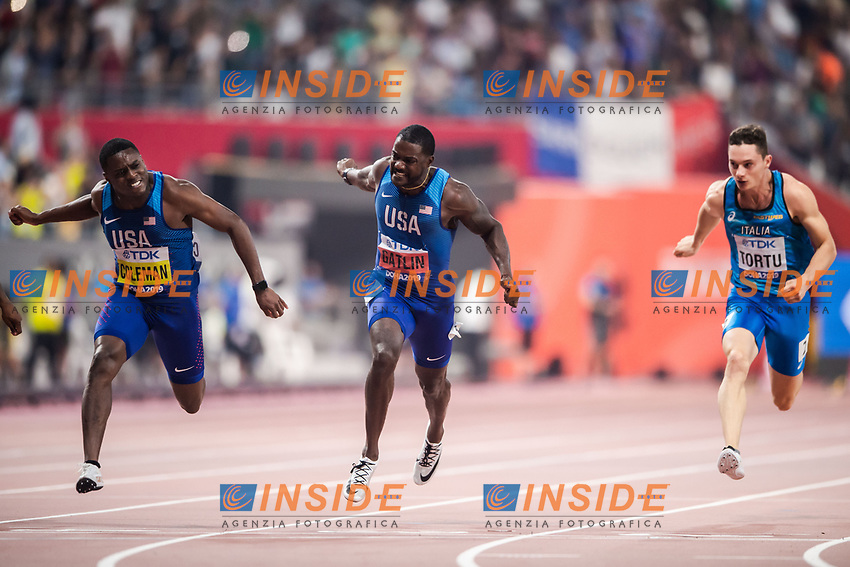 190928 Christian Coleman, Justin Gatlin of USA and Filippo Tortu of Italy competes in mens 100m final during day 2 of the IAAF World Athletics Championships on September 28, 2019 in Doha. Photo: Joel Marklund / BILDBYRAN / kod JM / 88033 BBENG athletics track & field friidrott friidrett IAAF World Athletics Championships Athletics World Championship, WM, Weltmeisterschaft VM friidrotts-VM friidretts-VM  190928 Christian Coleman, Justin Gatlin of USA and Filippo Tortu of Italy competes in mens 100m final during day 2 of the IAAF World Athletics Championships on September 28, 2019 in Doha Photo Joel Marklund BILDBYRAN kod JM 88033 BBENG athletics track field friidrott friidrett IAAF World Athletics Championships Athletics World Championship VM friidrotts VM friidretts VM, PUBLICATIONxNOTxINxDENxNORxSWExFINxAUT Copyright: JOELxMARKLUND BB190928JM131<br /> Doha 28/09/2019 <br /> Mondiali Atletica Leggera <br /> Photo Imago / Insidefoto <br /> ITALY ONLY