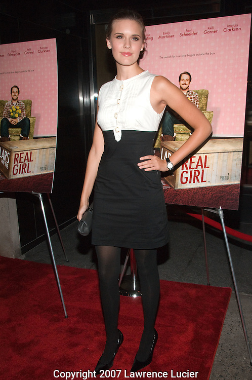 "NEW YORK - OCTOBER 03:  Actor Maggie Grace arrives at the New York screening of ""Lars And The Real Girl"" October 3, 2007, at the Paris Theater in New York City.  (Photo by Lawrence Lucier)"