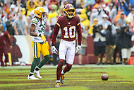 Landover, MD - September 23, 2018: Washington Redskins wide receiver Paul Richardson (10) celebrates after scoring a touchdown during the  game between Green Bay Packers and Washington Redskins at FedEx Field in Landover, MD.   (Photo by Elliott Brown/Media Images International)