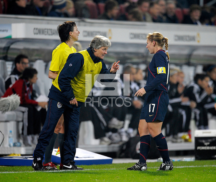 Head Coach Pia Sundhage instructs Lori Chalupny (17). US Women's National Team defeated Germany 1-0 at Impuls Arena in Augsburg, Germany on October 27, 2009.