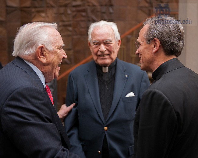 Oct. 16, 2009; (Back row) Notre Dame Board of Trustees Chairman Emeritus Donald Keough chats with President Emeritus Rev. Theodore Hesburgh, C.S.C. and President Rev. John Jenkins, C.S.C. during a break at the 2009 fall Board of Trustees meeting.<br /> <br /> Photo by Matt Cashore/University of Notre Dame