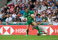 Twickenham, United Kingdom. 3rd June 2018, HSBC London Sevens Series. Game 44 Bronze Medal Game. Ireland vs England. <br /> <br /> Irelands, Jordan CONROY, scoring a try on the wing, during the Rugby 7's, match played at the  RFU Stadium, Twickenham, England, <br /> <br /> &copy; Peter SPURRIER/Alamy Live News