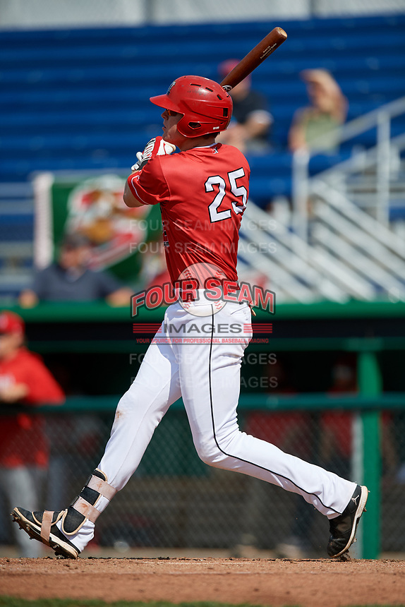 Batavia Muckdogs first baseman Sean Reynolds (25) follows through on a swing during a game against the Auburn Doubledays on September 2, 2018 at Dwyer Stadium in Batavia, New York.  Batavia defeated Auburn 5-4.  (Mike Janes/Four Seam Images)