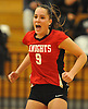 Alice Brandt #9 of Floral Park reacts after a hard-fought point against South Side in the Nassau County varsity girls volleyball Class A semifinals at Massapequa High School on Monday, Nov. 7, 2016. Floral won 3-2.