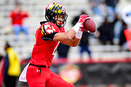 College Park, MD - OCT 27, 2018: Maryland Terrapins wide receiver Jeshaun Jones (6) catches a touchdown in the second quarter to add to Maryland's lead during game between Maryland and Illinois at Capital One Field at Maryland Stadium in College Park, MD. The Terrapins defeated Illinois to move to 5-3 on the season. (Photo by Phil Peters/Media Images International)