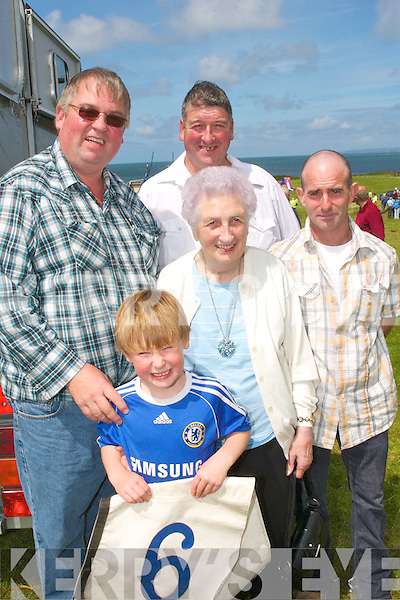 RACING: Enjoying the sunshine at Camp Harness racing last Sunday were Raymond, Der, Eileen and Ross Sugrue from Tralee and Mossy Fleming from Camp.   Copyright Kerry's Eye 2008