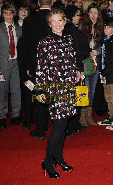 Joanna Page  .The 'Nativity 2: Danger In The Manger' world film premiere, Empire cinema, Leicester Square, London, England..November 13th, 2012.full length  maroon burgundy white black print pattern jacket white tights .CAP/CAN.©Can Nguyen/Capital Pictures.