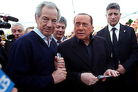Silvio Berlusconi posa insieme al candidato scelto da lui, Guido Bertolaso<br /> Silvio Berlusconi poses with the candidate he choose for his party, Guido Bertolaso<br /> Roma 12-03-2016 Gazebo di Largo Goldoni. Gazebarie del centro destra per valutare il gradimento del candidato proprosto a Sindaco di Roma.<br /> Gazebo at Largo Goldoni. Primary elections of the Centre-right party for the local elections of the Mayor of Rome.<br /> Photo Samantha Zucchi Insidefoto
