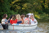 """Henley on Thames, United Kingdom, 3rd July 2018, Saturday,  """"Henley Royal Regatta"""",  'Hen Party', on the Thames, View, Henley Reach, River Thames, Thames Valley, England, UK."""