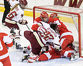 Kelli Stack (BC - 16), Holly Lorms (BU - 8), Mary Restuccia (BC - 22), Kerrin Sperry (BU - 1), Carly Warren (BU - 6) - The Boston College Eagles defeated the Boston University Terriers 2-1 in the opening round of the Beanpot on Tuesday, February 8, 2011, at Conte Forum in Chestnut Hill, Massachusetts.
