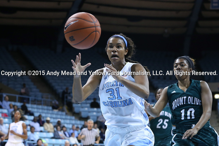 09 November 2015: North Carolina's Erika Johnson (31) and Mount Olive's Daria Simmons (10). The University of North Carolina Tar Heels hosted the University of Mount Olive Trojans at Carmichael Arena in Chapel Hill, North Carolina in a 2015-16 NCAA Women's Basketball exhibition game. UNC won the game 99-45.