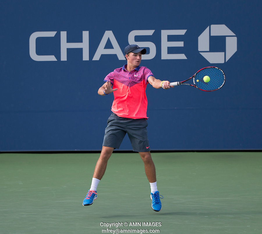 OMAR JASIKA (AUS), BOYS SINGLES CHAMPION<br /> The US Open Tennis Championships 2014 - USTA Billie Jean King National Tennis Centre -  Flushing - New York - USA -   ATP - ITF -WTA  2014  - Grand Slam - USA  <br /> 7th September 2014. <br /> <br /> &copy; AMN IMAGES