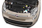 Car Stock 2017 Fiat 500L Lounge 5 Door Mini MPV Engine  high angle detail view