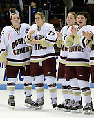 Colleen Harris (Boston College - 11), Danielle Welch (Boston College - 17),Shannon Webster (Boston College - 12), Mary Restuccia (Boston College - 22) - The Boston College Eagles defeated the Harvard University Crimson 1-0 to win the Beanpot on Tuesday, February 10, 2009, at Matthews Arena in Boston, Massachusetts.