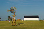 Metal windmill on wooden tower, white utility building (Monitor ?), Cheyenne Co., Kansas