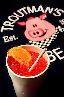 Small business photography of Troutman's Barbecue, a popular BBQ restaurant in downtown Concord, North Carolina. Image shows the Cherry Lemon Sun Drop. Photo is part of a photographic series of images featuring Concord, NC, by photographer Patrick Schneider..