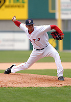 RHP Jose Vaquedano of the Pawtucket Red Sox, the AAA International League affiliate of the Boston Red Sox, at McCoy Stadium in Pawtucket, RI 5-2-09 (Photo by Ken Babbitt/Four Seam Images)