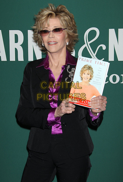 "Jane Fonda.Jane Fonda Book Signing for ""Prime Time: Love, Health, Sex, Fitness, Friendship, Spirit - Making the Most of All of Your Life."" held at Barnes & Noble, The Grove, Los Angeles, California, USA..August 15th, 2011.half length black purple silk satin shirt blouse suit jacket sunglasses shades .CAP/ADM/RE.©Russ Elliot/AdMedia/Capital Pictures."