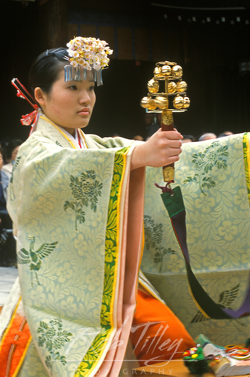 Japan, Tokyo, Harajuku, Meiji Shrine, Spring Festival Dancer