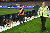 June 13th 2017, Melbourne Cricket Ground, Melbourne, Australia; International Football Friendly; Brazil versus Australia; A security guard and security dog walking around the ground ahead of the Brazil versus Argentina match