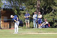 Nino Bertasio (ITA) plays his 2nd shot on the 5th hole during Sunday's Final Round 4 of the 2018 Omega European Masters, held at the Golf Club Crans-Sur-Sierre, Crans Montana, Switzerland. 9th September 2018.<br /> Picture: Eoin Clarke | Golffile<br /> <br /> <br /> All photos usage must carry mandatory copyright credit (&copy; Golffile | Eoin Clarke)