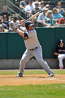 Brian Burgamy (7) of the Binghamton Mets bats during a game against the New Britain Rock Cats at New Britain Stadium on June 1, 2014 in New Britain, Connecticut.  New Britain defeated Binghamton 6-1.   (Gregory Vasil/Four Seam Images)