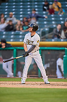 Ryan Schimpf (17) of the Salt Lake Bees bats against the Sacramento River Cats at Smith's Ballpark on April 19, 2018 in Salt Lake City, Utah. Salt Lake defeated Sacramento 10-7. (Stephen Smith/Four Seam Images)