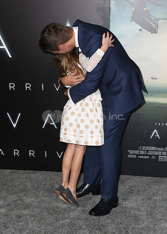 "Westwood, CA - NOVEMBER 06: Jeremy Renner, Abigail Pniowsky at Premiere Of Paramount Pictures' ""Arrival"" At Regency Village Theatre, California on November 06, 2016. Credit: Faye Sadou/MediaPunch"