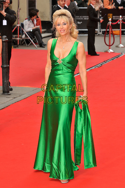 SALLY FARMILOE .Red Carpet Arrivals for the British Academy Television Awards 2008, held at the London Palladium, London, England, April 20th 2008. .BAFTA BAFTA's full length green dress silk satin dress maxi gown.CAP/PL.©Phil Loftus/Capital Pictures