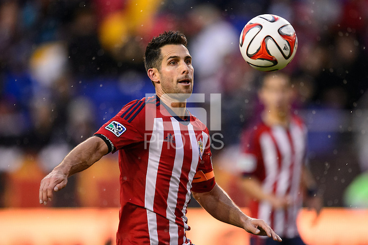Carlos Bocanegra (3) of Chivas USA. The New York Red Bulls and Chivas USA played to a 1-1 tie during a Major League Soccer (MLS) match at Red Bull Arena in Harrison, NJ, on March 30, 2014.