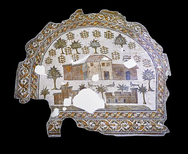 4th century AD Roman mosaic depiction of Roman Villa farms in Africa. The Bardo Museum, Tunis, Tunisia. black background