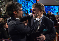 Gael Garcia Bernal congratulates Guillermo del Toro for the Oscar&reg; for achievement in directing for work on &ldquo;The Shape of Water&rdquo; during the live ABC Telecast of The 90th Oscars&reg; at the Dolby&reg; Theatre in Hollywood, CA on Sunday, March 4, 2018.<br /> *Editorial Use Only*<br /> CAP/PLF/AMPAS<br /> Supplied by Capital Pictures