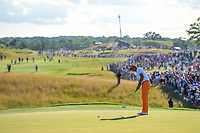 Rickie Fowler (USA) watches his putt on 18 during Sunday's round 4 of the 117th U.S. Open, at Erin Hills, Erin, Wisconsin. 6/18/2017.<br /> Picture: Golffile | Ken Murray<br /> <br /> <br /> All photo usage must carry mandatory copyright credit (&copy; Golffile | Ken Murray)