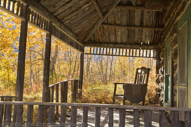 Log cabin porch in the historic community of Wiseman, Alaska.