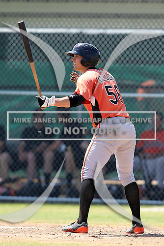 Baltimore Orioles minor league player Tyler Kolodny #56 during a spring training game vs the Boston Red Sox at the Buck O'Neil Complex in Sarasota, Florida;  March 22, 2011.  Photo By Mike Janes/Four Seam Images