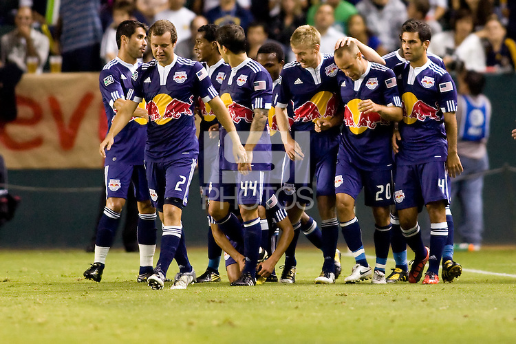 It's truely a team effort & celebration for the New York Red Bulls when scoring a goal. The entire team celebrating. The New York Red Bulls beat the LA Galaxy 2-0 at Home Depot Center stadium in Carson, California on Friday September 24, 2010.