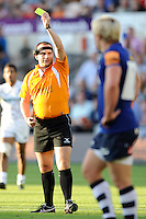 20130802 Copyright onEdition 2013 ©<br /> Free for editorial use image, please credit: onEdition.<br /> <br /> The Referee awards a yellow card during the J.P. Morgan Asset Management Premiership Rugby 7s Series.<br /> <br /> The J.P. Morgan Asset Management Premiership Rugby 7s Series kicks off for the fourth season on Thursday 1st August with Pool A at Kingsholm, Gloucester with Pool B being played at Franklin's Gardens, Northampton on Friday 2nd August, Pool C at Allianz Park, Saracens home ground, on Saturday 3rd August and the Final being played at The Recreation Ground, Bath on Friday 9th August. The innovative tournament, which involves all 12 Premiership Rugby clubs, offers a fantastic platform for some of the country's finest young athletes to be exposed to the excitement, pressures and skills required to compete at an elite level.<br /> <br /> The 12 Premiership Rugby clubs are divided into three groups for the tournament, with the winner and runner up of each regional event going through to the Final. There are six games each evening, with each match consisting of two 7 minute halves with a 2 minute break at half time.<br /> <br /> For additional images please go to: http://www.w-w-i.com/jp_morgan_premiership_sevens/<br /> <br /> For press contacts contact: Beth Begg at brandRapport on D: +44 (0)20 7932 5813 M: +44 (0)7900 88231 E: BBegg@brand-rapport.com<br /> <br /> If you require a higher resolution image or you have any other onEdition photographic enquiries, please contact onEdition on 0845 900 2 900 or email info@onEdition.com<br /> This image is copyright the onEdition 2013©.<br /> <br /> This image has been supplied by onEdition and must be credited onEdition. The author is asserting his full Moral rights in relation to the publication of this image. Rights for onward transmission of any image or file is not granted or implied. Changing or deleting Copyright information is illegal as specified in the Copyright, Design and Patents Act 1988. If you 