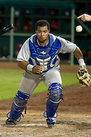 Tulsa Drillers catcher Wilin Rosario #20 chases after a wild pitch during the Texas League All Star Game played on June 29, 2011 at Nelson Wolff Stadium in San Antonio, Texas. The South defeated the North 3-2 in the contest. (Andrew Woolley / Four Seam Images)