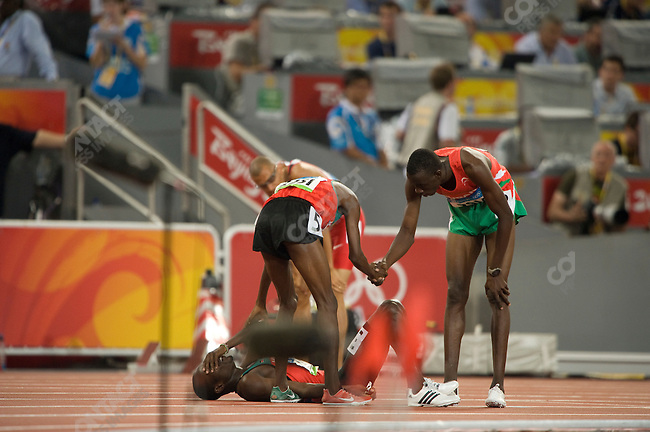 Men's 800m final, Alfred Kirwa Yego 2251 (Kenya)- bronze, Wilfred Bungei (Kenya)-  gold, Ismail Ahmed Islmail 2914 (Sudan) - silver, National Stadium, Summer Olympics, Beijing, China, August 23, 2008